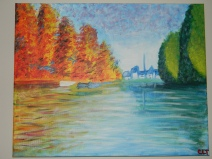 "Variation on Monet's ""Autumn on the Seine at Argenteuil""; acrylic on canvas"