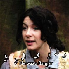 Actor Caitriona Balfe as Claire Fraser in drag singing