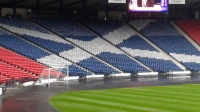 Hampden Park football stadium, south of Glasgow