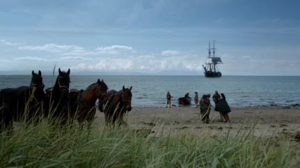 Scottish coast, boat to France. Image by STARZ/Sony Pictures Television, via Outlander-Online.com