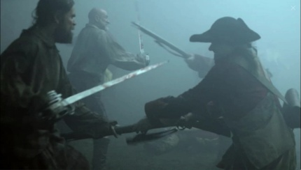 Murtagh, Dougal, Prestonpans. Rupert, Jamie. Image by STARZ/Sony Pictures Television, via Outlander-Online.com