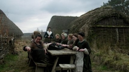 wool waulking; Highland Folk Museum, ep105. Image STARZ Sony Pictures Television, via Outlander-Online.com
