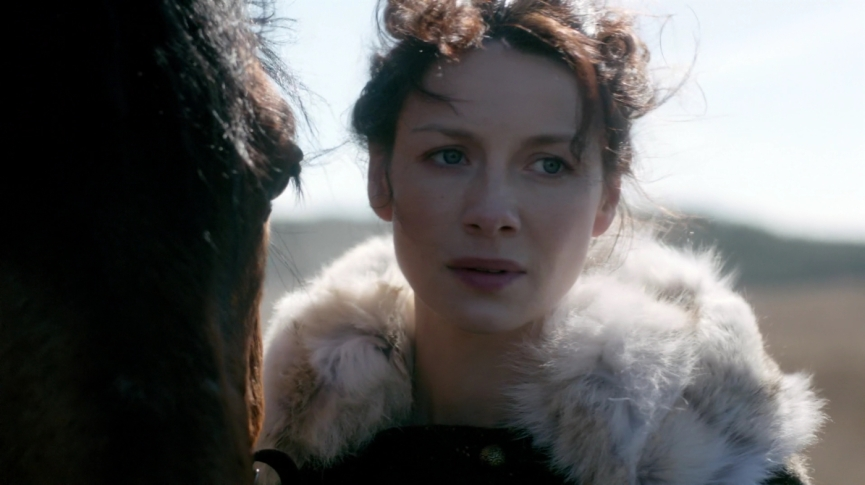 "Claire after flash ""back"" to the 1940s. Image by STARZ Sony Pictures Television, via Outlander-Online.com"