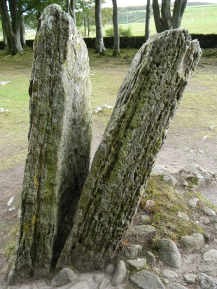 split standing stone. Image by C. L. Tangenberg
