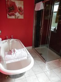En suite shower & tub, Daviot Lodge