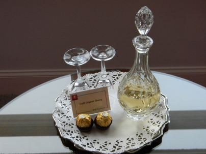 Complementary treats! (Ferrero Rocher & sherry)